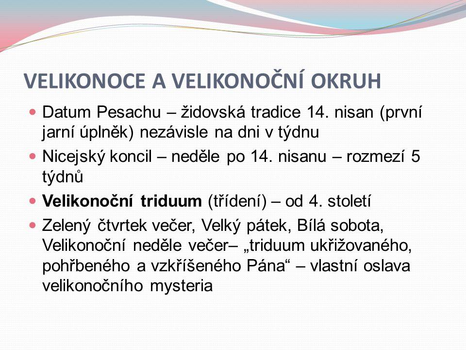 VELIKONOCE A VELIKONOČNÍ OKRUH  Datum Pesachu – židovská tradice 14. nisan (první jarní úplněk) nezávisle na dni v týdnu  Nicejský koncil – neděle p