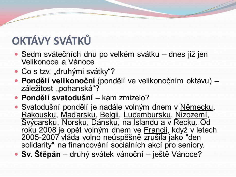 """OKTÁVY SVÁTKŮ  Sedm svátečních dnů po velkém svátku – dnes již jen Velikonoce a Vánoce  Co s tzv. """"druhými svátky""""?  Pondělí velikonoční (pondělí v"""