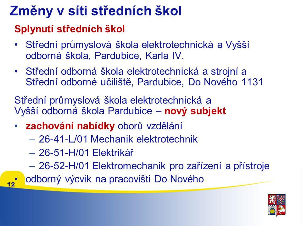 Změny v síti středních škol Splynutí středních škol •Střední průmyslová škola elektrotechnická a Vyšší odborná škola, Pardubice, Karla IV.