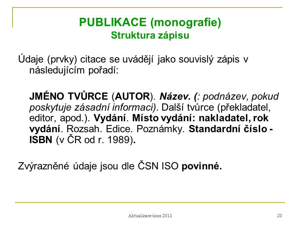 PUBLIKACE (monografie) Struktura zápisu Údaje (prvky) citace se uvádějí jako souvislý zápis v následujícím pořadí: JMÉNO TVŮRCE (AUTOR). Název. (: pod