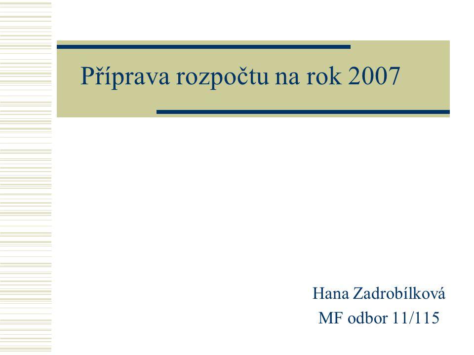 Příprava rozpočtu na rok 2007 Hana Zadrobílková MF odbor 11/115