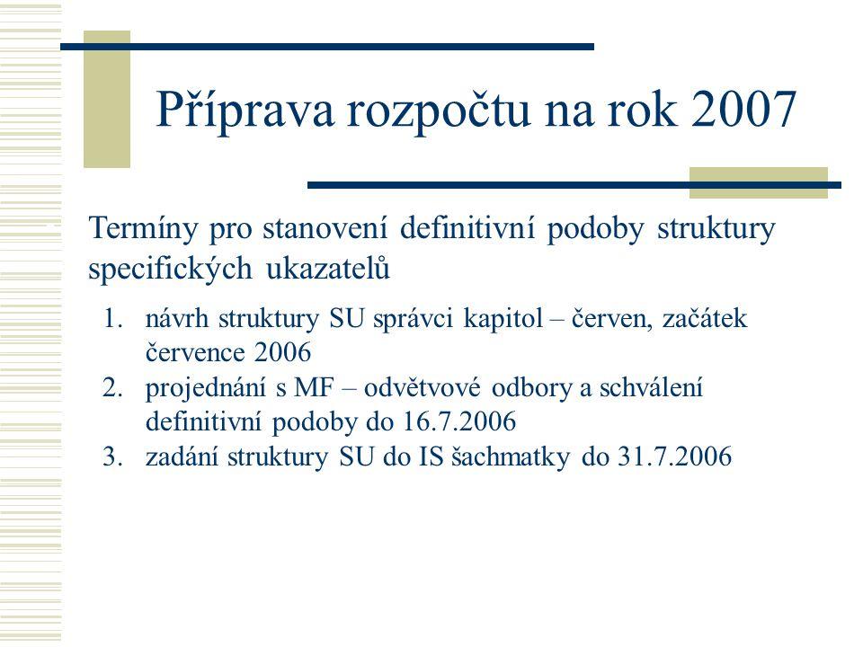 Příprava rozpočtu na rok 2007 •Termíny pro stanovení definitivní podoby struktury specifických ukazatelů 1.návrh struktury SU správci kapitol – červen, začátek července 2006 2.projednání s MF – odvětvové odbory a schválení definitivní podoby do 16.7.2006 3.zadání struktury SU do IS šachmatky do 31.7.2006