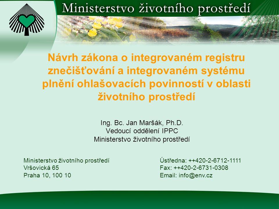 Obsah prezentace  Právní předpisy k integrovanému registru znečišťování životního prostředí (IRZ)  Návrh zákona o IRZ a ISPOP  Stav projednávání návrhu zákona  Obsah návrhu zákona  Ohlašování údajů za rok 2007  Závěr