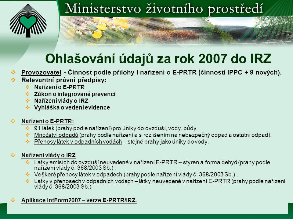 Ohlašování údajů za rok 2007 do IRZ  Provozovatel - Činnost podle přílohy I nařízení o E-PRTR (činnosti IPPC + 9 nových).