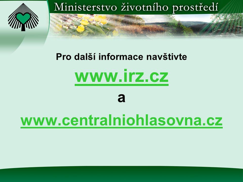 Pro další informace navštivte www.irz.cz a www.centralniohlasovna.cz