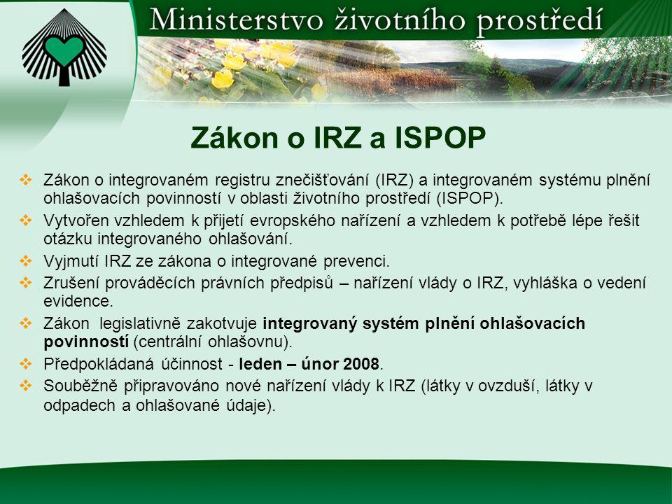 Zákon o IRZ a ISPOP  Stav projednávání zákona:  22.8.2007 – schválení vládou.