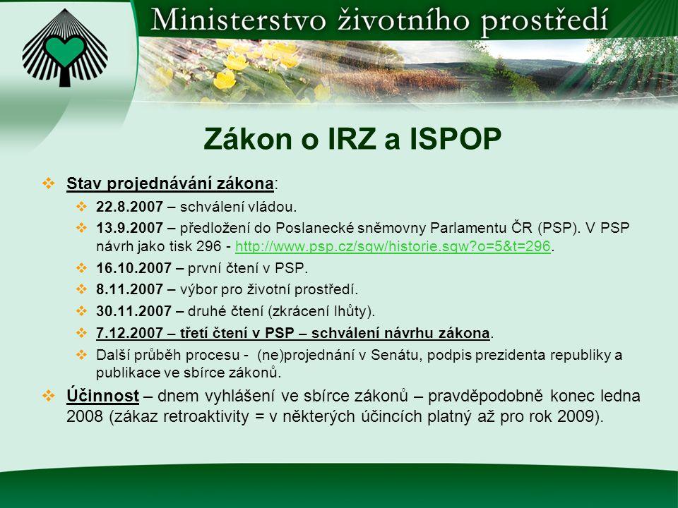 Zákon o IRZ a CO  Dvě hlavní části – IRZ a ISPOP IRZ  Zákon upravuje praktické aspekty ohlašovacího procesu do IRZ v České republice.