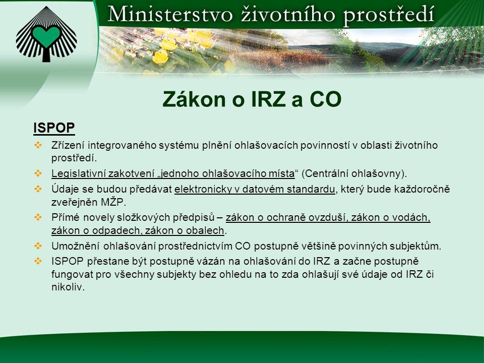 Zákon o IRZ a CO ISPOP  Zřízení integrovaného systému plnění ohlašovacích povinností v oblasti životního prostředí.