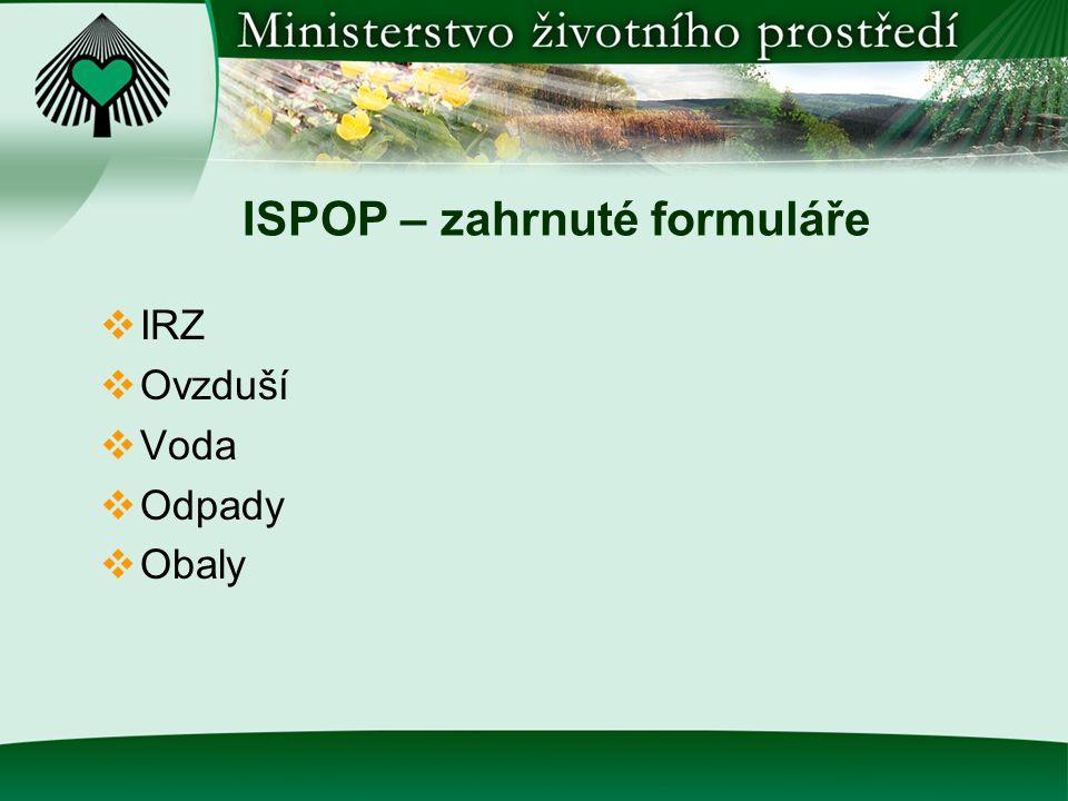 ISPOP – zahrnuté formuláře  IRZ  Ovzduší  Voda  Odpady  Obaly