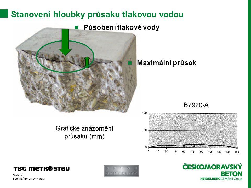 Slide 6 Seminář Beton University Specifikace betonu Správná specifikace betonu: C30/37 – XF2 (CZ, F.2) – Cl 0,2 – Dmax22 – S4 dle ČSN EN 206–1/Z3 Stupeň vlivu prostředí Životnost konstrukce 100 let Maximální obsah chloridů (předepjatá konstrukce) Maximální zrno kameniva 22 mm Kozistence sednutím kužele Označení normy