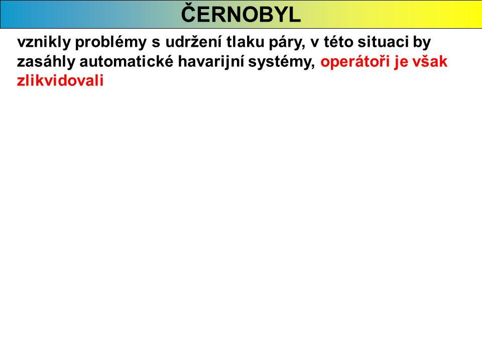 ČERNOBYL vznikly problémy s udržení tlaku páry, v této situaci by zasáhly automatické havarijní systémy, operátoři je však zlikvidovali