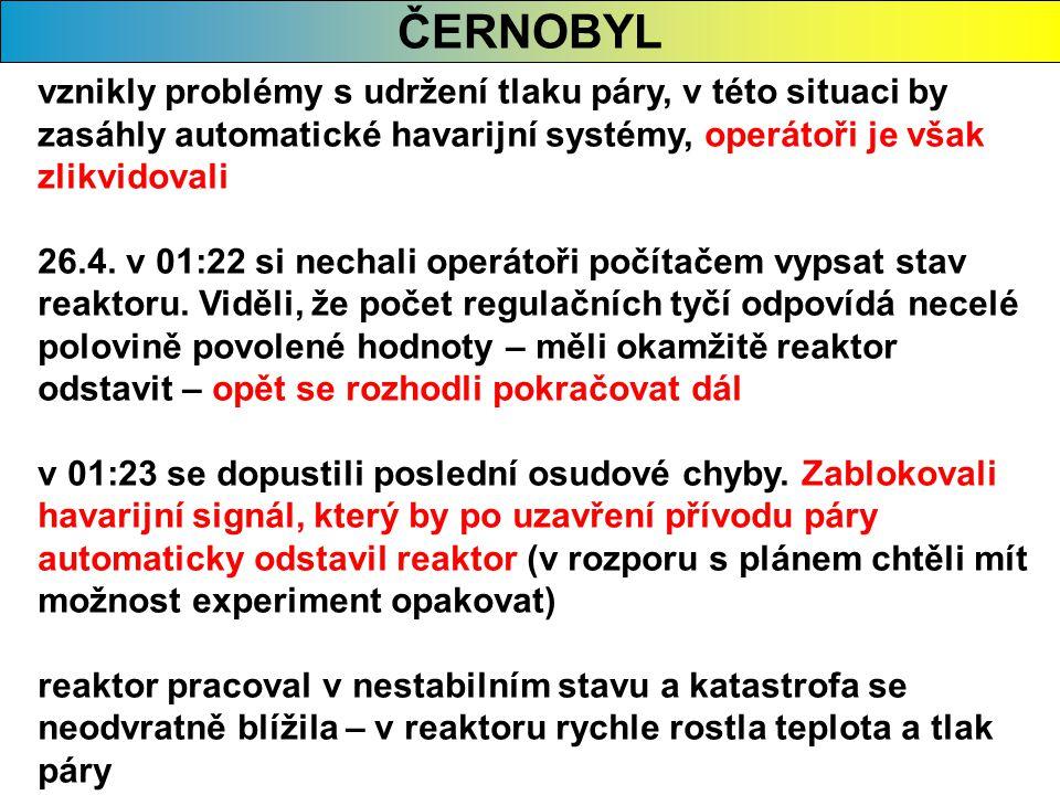 ČERNOBYL vznikly problémy s udržení tlaku páry, v této situaci by zasáhly automatické havarijní systémy, operátoři je však zlikvidovali 26.4. v 01:22