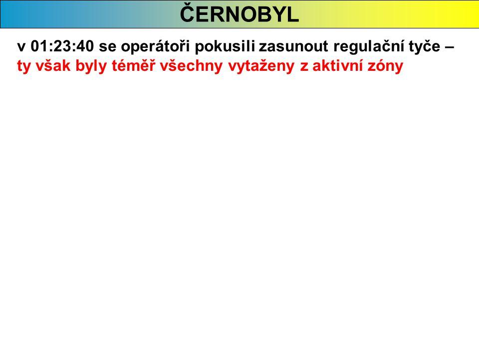 ČERNOBYL v 01:23:40 se operátoři pokusili zasunout regulační tyče – ty však byly téměř všechny vytaženy z aktivní zóny