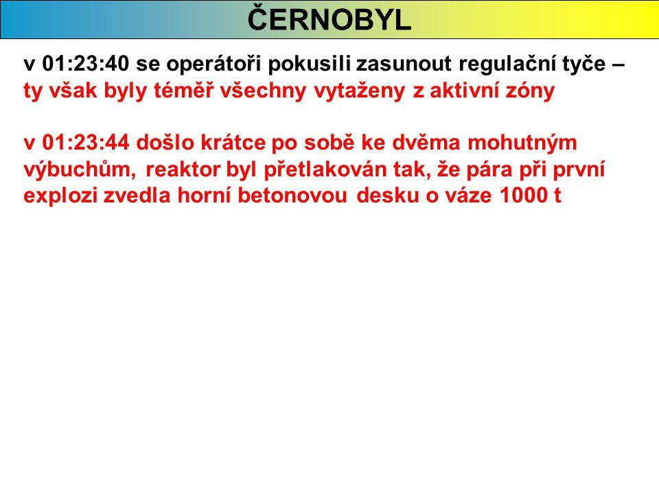 ČERNOBYL v 01:23:40 se operátoři pokusili zasunout regulační tyče – ty však byly téměř všechny vytaženy z aktivní zóny v 01:23:44 došlo krátce po sobě ke dvěma mohutným výbuchům, reaktor byl přetlakován tak, že pára při první explozi zvedla horní betonovou desku o váze 1000 t
