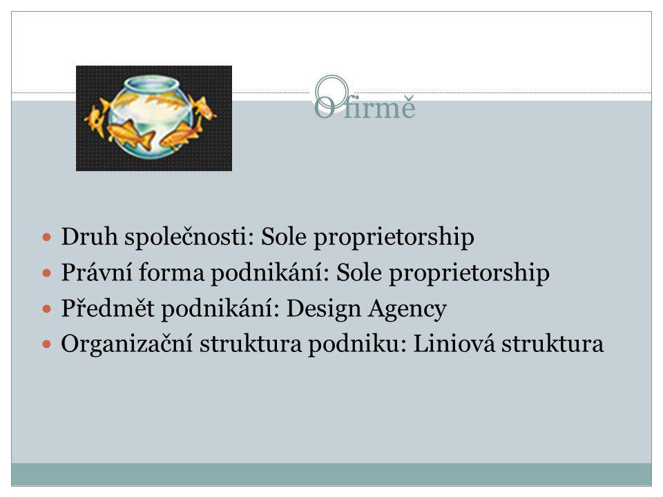 O firmě  Druh společnosti: Sole proprietorship  Právní forma podnikání: Sole proprietorship  Předmět podnikání: Design Agency  Organizační struktura podniku: Liniová struktura