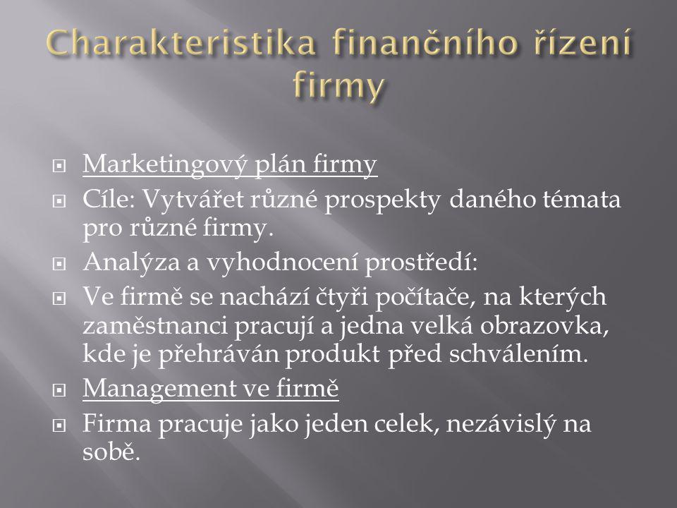  Marketingový plán firmy  Cíle: Vytvářet různé prospekty daného témata pro různé firmy.  Analýza a vyhodnocení prostředí:  Ve firmě se nachází čty