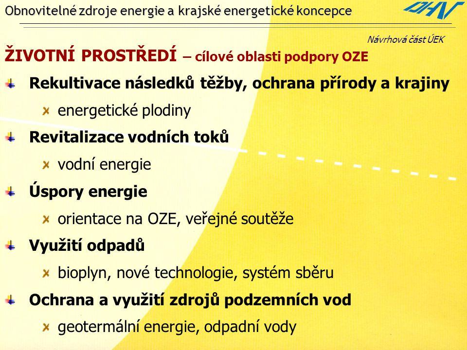 Obnovitelné zdroje energie a krajské energetické koncepce ŽIVOTNÍ PROSTŘEDÍ – cílové oblasti podpory OZE Rekultivace následků těžby, ochrana přírody a krajiny energetické plodiny Revitalizace vodních toků vodní energie Úspory energie orientace na OZE, veřejné soutěže Využití odpadů bioplyn, nové technologie, systém sběru Ochrana a využití zdrojů podzemních vod geotermální energie, odpadní vody Návrhová část ÚEK