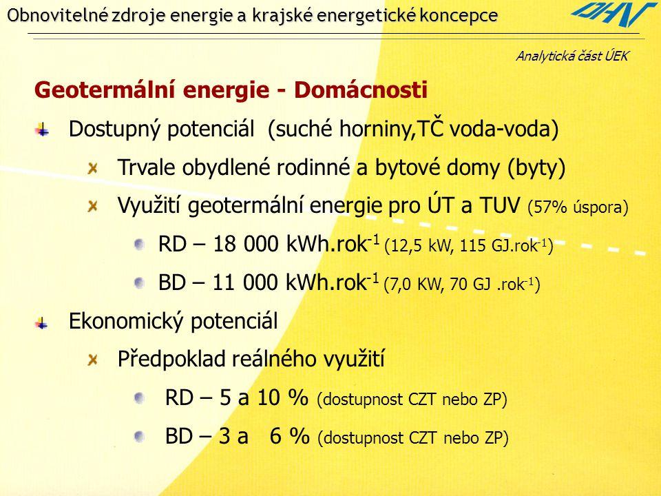 Obnovitelné zdroje energie a krajské energetické koncepce Geotermální energie - Domácnosti Dostupný potenciál (suché horniny,TČ voda-voda) Trvale obydlené rodinné a bytové domy (byty) Využití geotermální energie pro ÚT a TUV (57% úspora) RD – 18 000 kWh.rok -1 (12,5 kW, 115 GJ.rok -1 ) BD – 11 000 kWh.rok -1 (7,0 KW, 70 GJ.rok -1 ) Ekonomický potenciál Předpoklad reálného využití RD – 5 a 10 % (dostupnost CZT nebo ZP) BD – 3 a 6 % (dostupnost CZT nebo ZP) Analytická část ÚEK