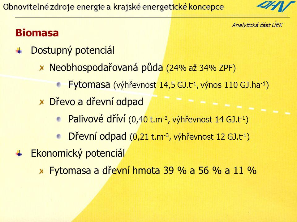 Obnovitelné zdroje energie a krajské energetické koncepce Biomasa Dostupný potenciál Neobhospodařovaná půda (24% až 34% ZPF) Fytomasa (výhřevnost 14,5 GJ.t -1, výnos 110 GJ.ha -1 ) Dřevo a dřevní odpad Palivové dříví (0,40 t.m -3, výhřevnost 14 GJ.t -1 ) Dřevní odpad (0,21 t.m -3, výhřevnost 12 GJ.t -1 ) Ekonomický potenciál Fytomasa a dřevní hmota 39 % a 56 % a 11 % Analytická část ÚEK