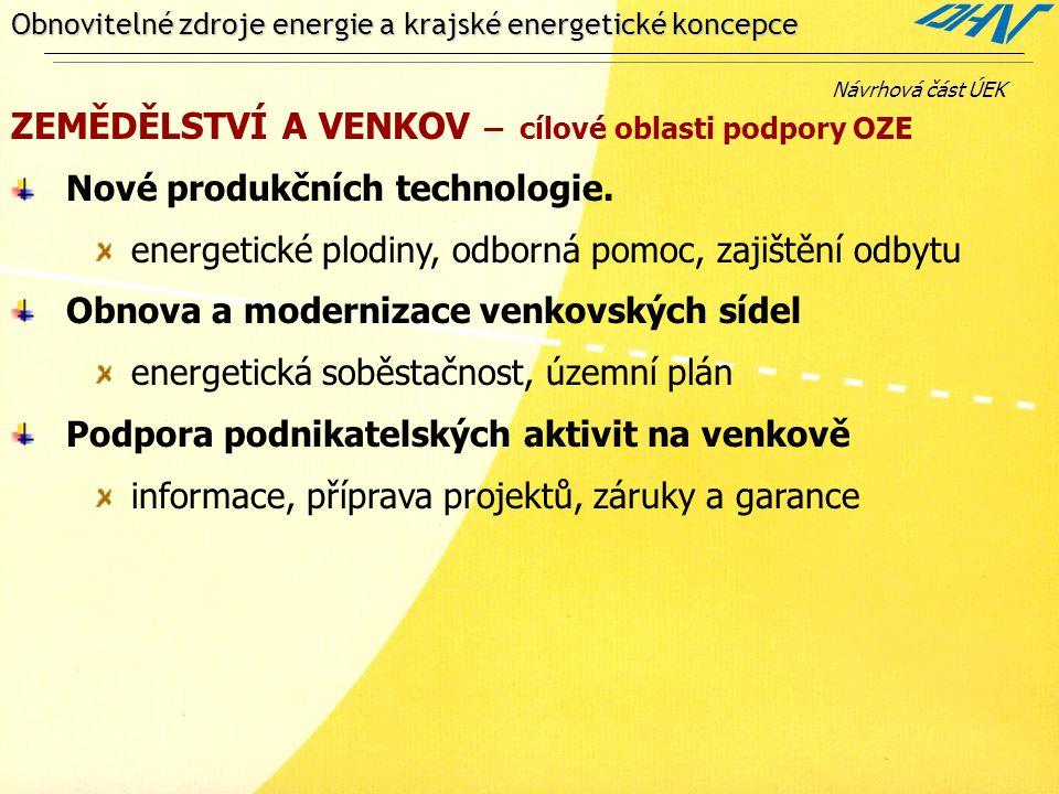 Obnovitelné zdroje energie a krajské energetické koncepce ZEMĚDĚLSTVÍ A VENKOV – cílové oblasti podpory OZE Nové produkčních technologie. energetické