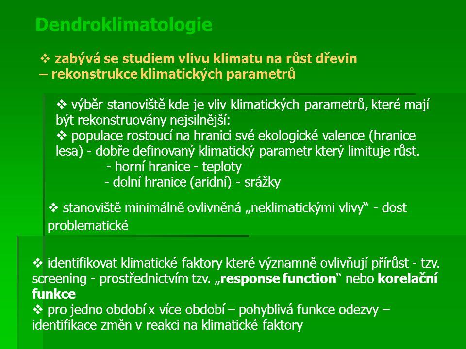 """Dendroklimatologie  identifikovat klimatické faktory které významně ovlivňují přírůst - tzv. screening - prostřednictvím tzv. """"response function"""" neb"""