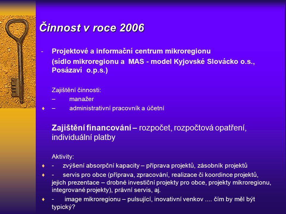 Činnost v roce 2006 - Projektové a informační centrum mikroregionu (sídlo mikroregionu a MAS - model Kyjovské Slovácko o.s., Posázaví o.p.s.) Zajištění činnosti: – manažer  – administrativní pracovník a účetní Zajištění financování – rozpočet, rozpočtová opatření, individuální platby Aktivity:  - zvýšení absorpční kapacity – příprava projektů, zásobník projektů  - servis pro obce (příprava, zpracování, realizace či koordince projektů, jejich prezentace – drobné investiční projekty pro obce, projekty mikroregionu, integrované projekty), právní servis, aj.