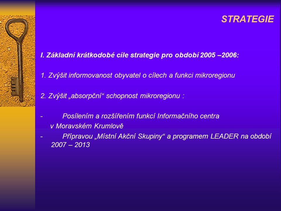 STRATEGIE I. Základní krátkodobé cíle strategie pro období 2005 –2006: 1.