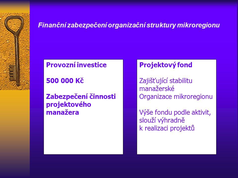 Finanční zabezpečení organizační struktury mikroregionu Provozní investice 500 000 Kč Zabezpečení činnosti projektového manažera Projektový fond Zajišťující stabilitu manažerské Organizace mikroregionu Výše fondu podle aktivit, slouží výhradně k realizaci projektů