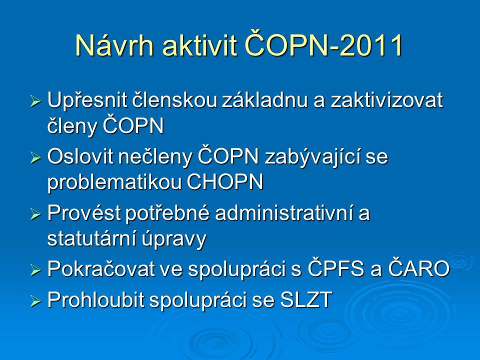 Návrh aktivit ČOPN - 2011  Připravit pilotní studii o nákladech na léčbu CHOPN v souvislosti s komorbiditami  Zvážit pilotní studii o fenotypech CHOPN  Aktivně se podílet na přednáškové činnosti –bloky přednášek na Luhačovických dnech a na XVII.