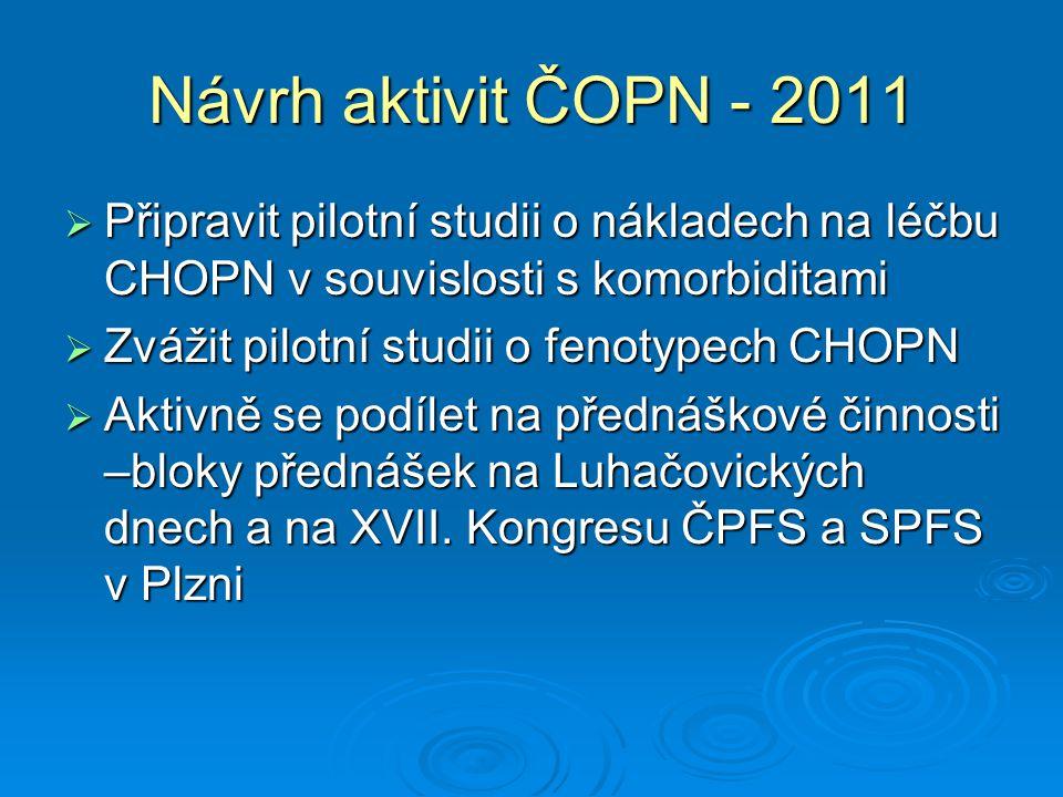 Návrh aktivit ČOPN - 2011  Připravit pilotní studii o nákladech na léčbu CHOPN v souvislosti s komorbiditami  Zvážit pilotní studii o fenotypech CHO