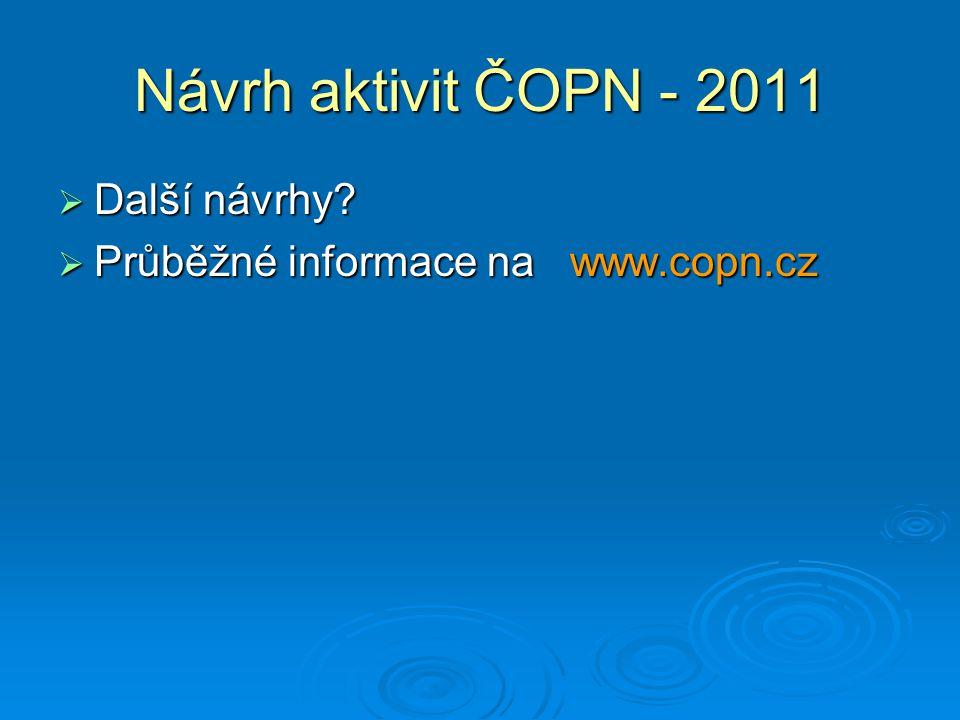 Návrh aktivit ČOPN - 2011  Další návrhy?  Průběžné informace na www.copn.cz