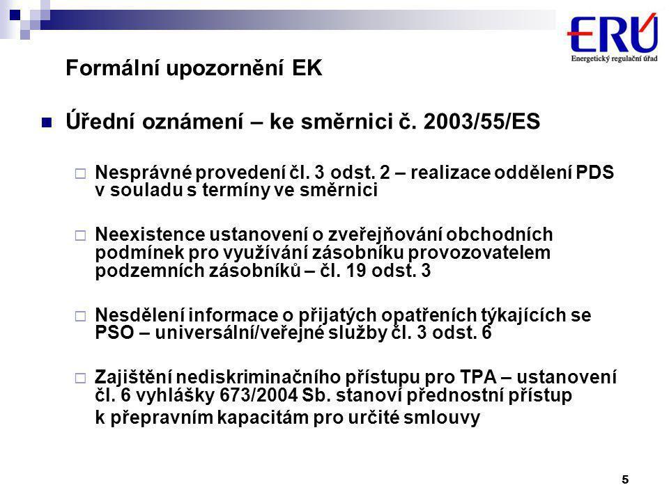 5 Formální upozornění EK  Úřední oznámení – ke směrnici č.