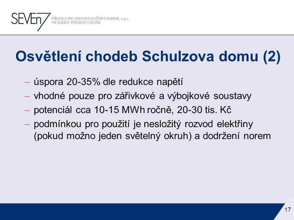 –úspora 20-35% dle redukce napětí –vhodné pouze pro zářivkové a výbojkové soustavy –potenciál cca 10-15 MWh ročně, 20-30 tis. Kč –podmínkou pro použit
