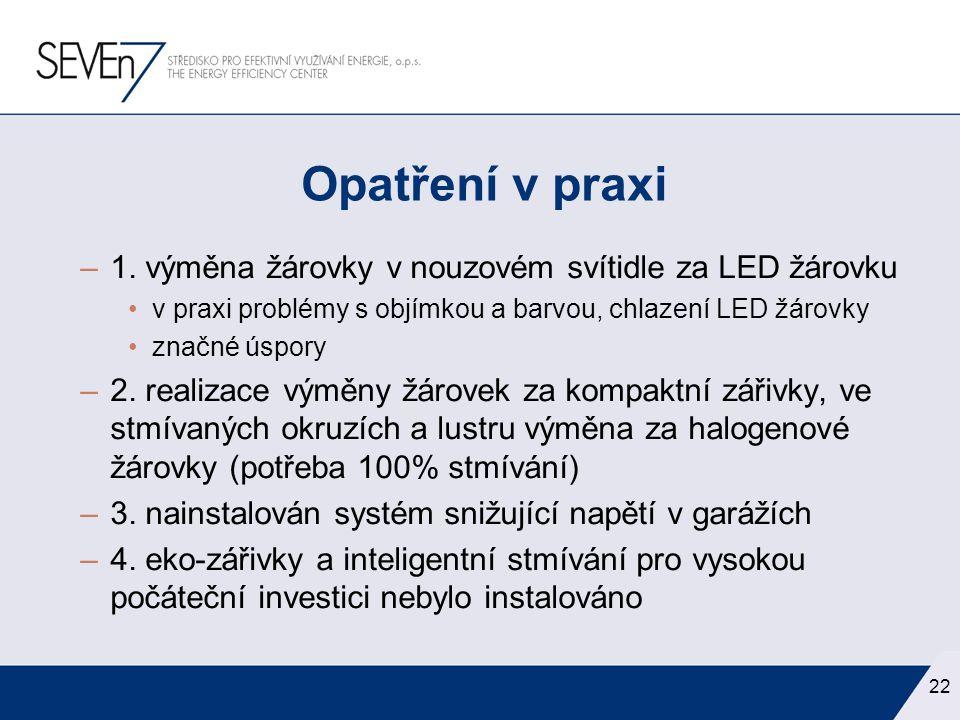 –1. výměna žárovky v nouzovém svítidle za LED žárovku •v praxi problémy s objímkou a barvou, chlazení LED žárovky •značné úspory –2. realizace výměny