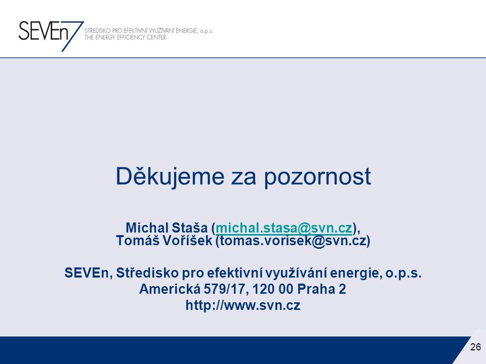 26 Děkujeme za pozornost Michal Staša (michal.stasa@svn.cz), Tomáš Voříšek (tomas.vorisek@svn.cz)michal.stasa@svn.cz SEVEn, Středisko pro efektivní vy