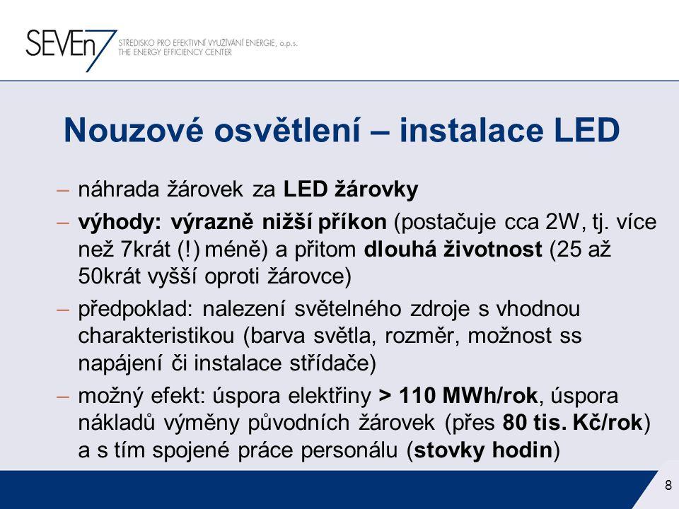 –náhrada žárovek za LED žárovky –výhody: výrazně nižší příkon (postačuje cca 2W, tj. více než 7krát (!) méně) a přitom dlouhá životnost (25 až 50krát