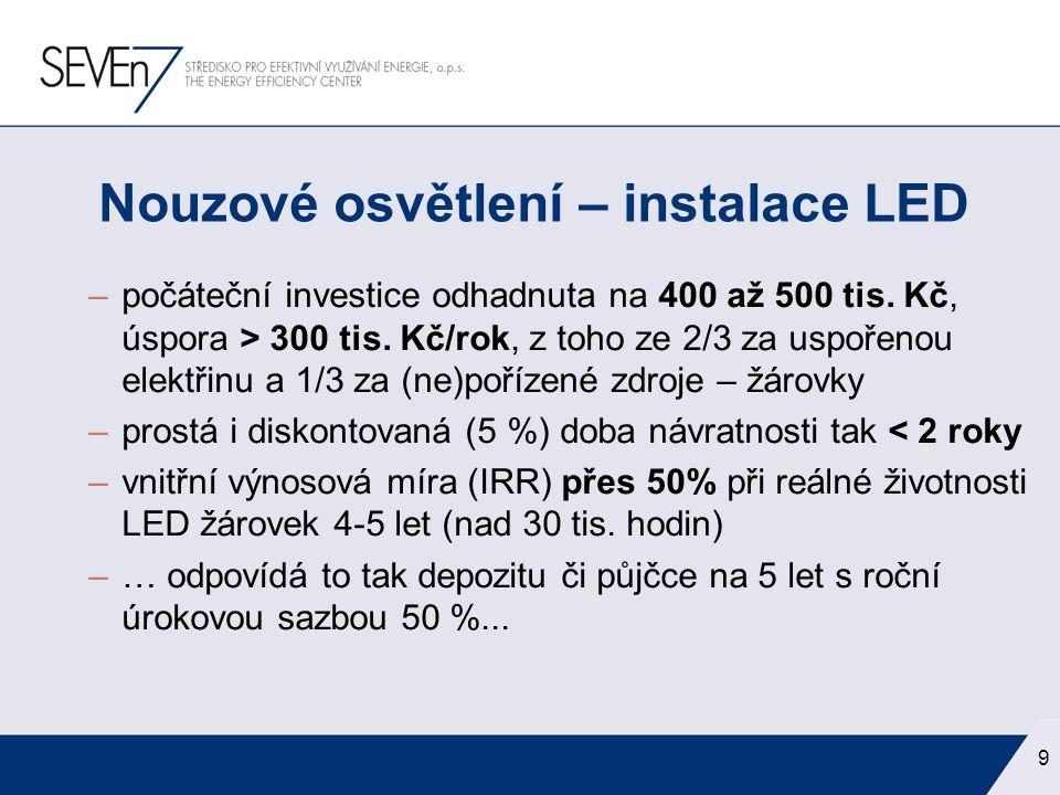 –počáteční investice odhadnuta na 400 až 500 tis. Kč, úspora > 300 tis. Kč/rok, z toho ze 2/3 za uspořenou elektřinu a 1/3 za (ne)pořízené zdroje – žá