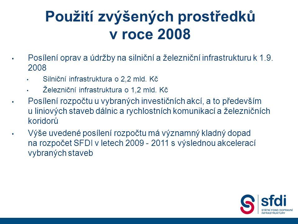 Použití zvýšených prostředků v roce 2008 • Posílení oprav a údržby na silniční a železniční infrastrukturu k 1.9.