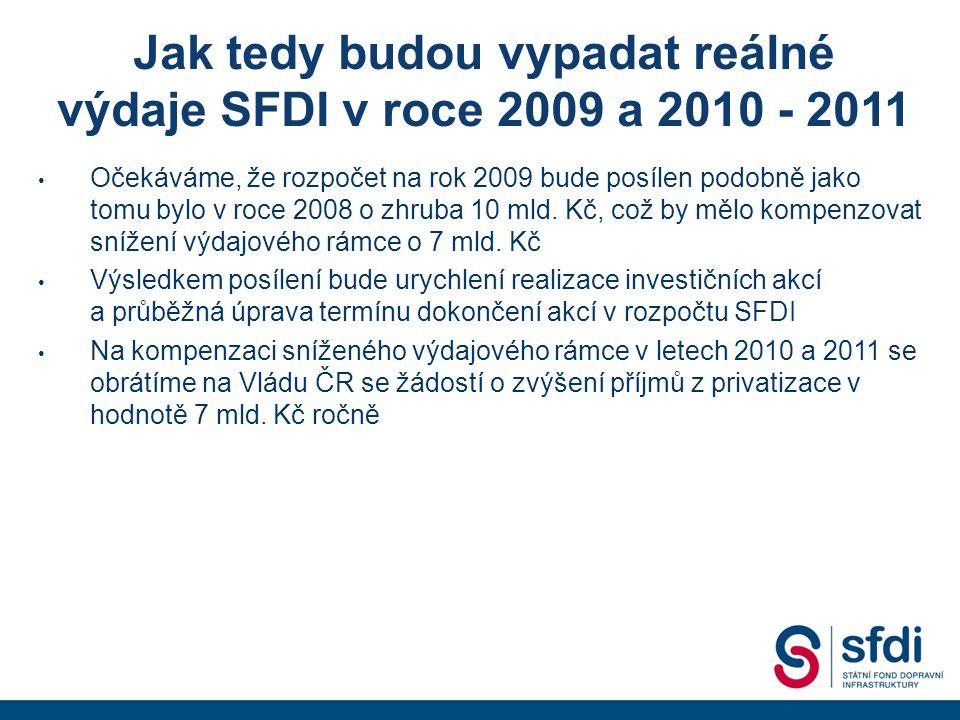 Jak tedy budou vypadat reálné výdaje SFDI v roce 2009 a 2010 - 2011 • Očekáváme, že rozpočet na rok 2009 bude posílen podobně jako tomu bylo v roce 2008 o zhruba 10 mld.