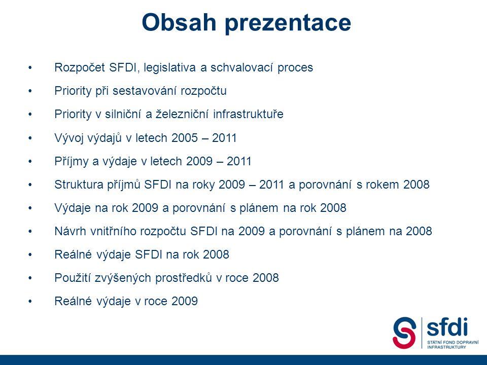 •Rozpočet SFDI, legislativa a schvalovací proces •Priority při sestavování rozpočtu •Priority v silniční a železniční infrastruktuře •Vývoj výdajů v letech 2005 – 2011 •Příjmy a výdaje v letech 2009 – 2011 •Struktura příjmů SFDI na roky 2009 – 2011 a porovnání s rokem 2008 •Výdaje na rok 2009 a porovnání s plánem na rok 2008 •Návrh vnitřního rozpočtu SFDI na 2009 a porovnání s plánem na 2008 •Reálné výdaje SFDI na rok 2008 •Použití zvýšených prostředků v roce 2008 •Reálné výdaje v roce 2009 Obsah prezentace