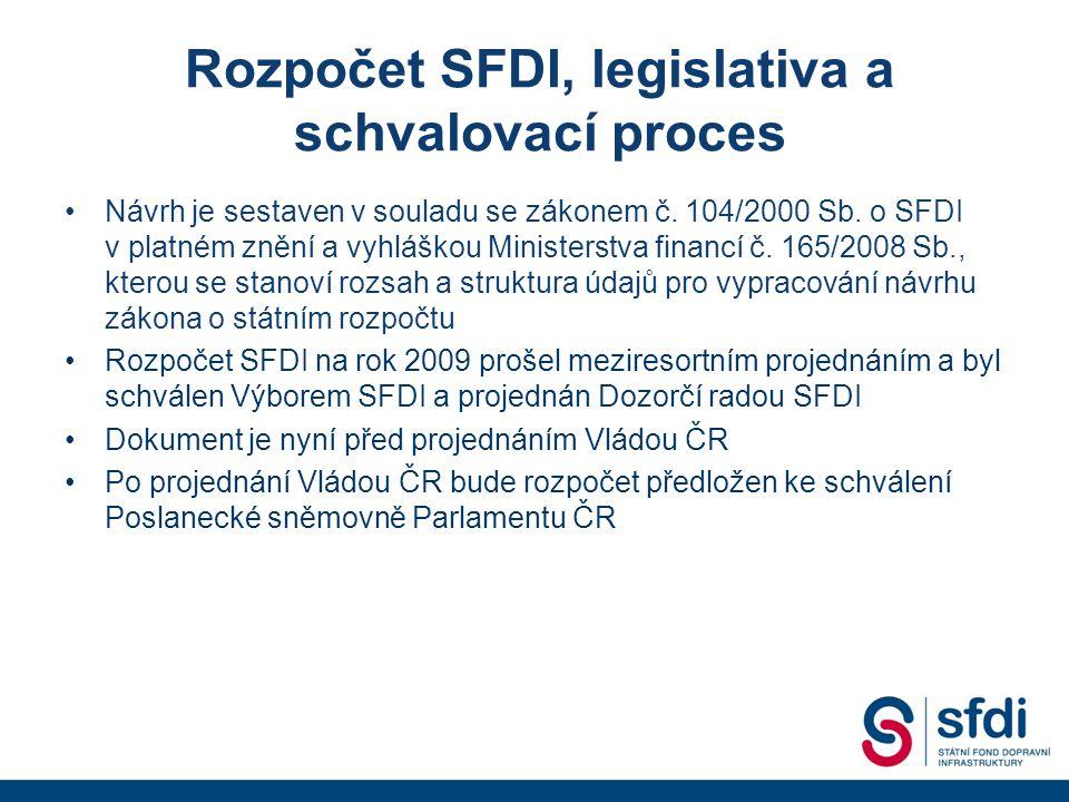 Priority při sestavování rozpočtu • Maximální podpora čerpání prostředků z fondů Evropské unie • Zabezpečení kofinancování národního podílu • Rozpočet je sestaven v souladu s Harmonogramem výstavby dopravní infrastruktury, který je také předkládán ke schválení Vládě ČR – oba dokumenty jsou vzájemně provázány • Zajištění dostatečného objemu prostředků v rozpočtu pro pokračování výstavby a dokončení rozestavěných staveb v optimálním finančním harmonogramu • Zařazení akcí, které s ohledem na předpokládaný objem financování v budoucích letech bude možné efektivně ukončit