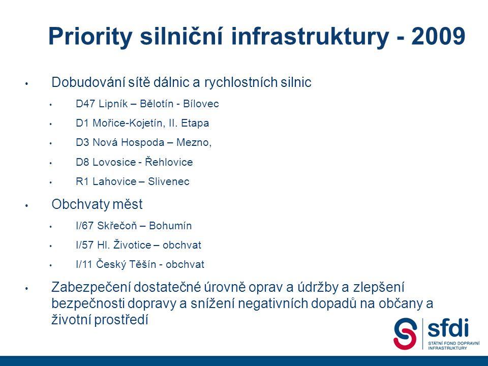 Jak tedy budou vypadat reálné výdaje SFDI v roce 2009 • Navrhovaný rozpočet SFDI na rok 2009 ve výši 84,5 mld.