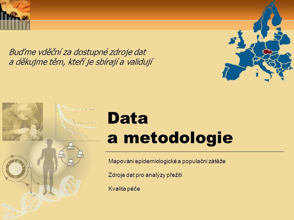 Data a metodologie Buďme vděční za dostupné zdroje dat a děkujme těm, kteří je sbírají a validují Mapování epidemiologické a populační zátěže Zdroje dat pro analýzy přežití Kvalita péče