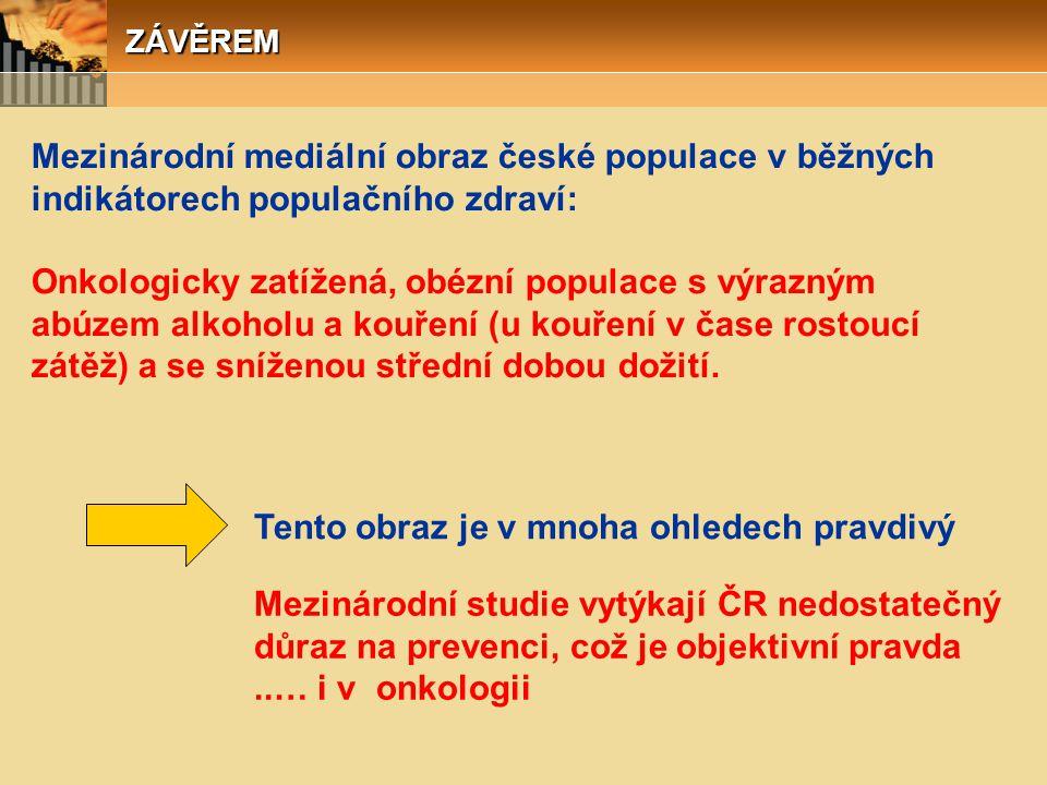 ZÁVĚREM Mezinárodní mediální obraz české populace v běžných indikátorech populačního zdraví: Onkologicky zatížená, obézní populace s výrazným abúzem a