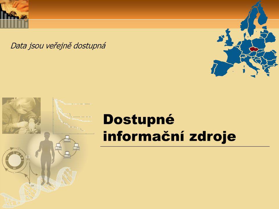 Dostupné informační zdroje Data jsou veřejně dostupná