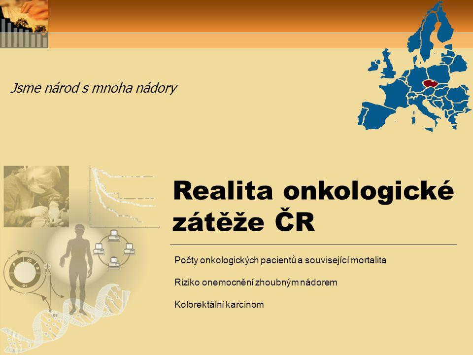 Realita onkologické zátěže ČR Jsme národ s mnoha nádory Počty onkologických pacientů a související mortalita Riziko onemocnění zhoubným nádorem Kolore