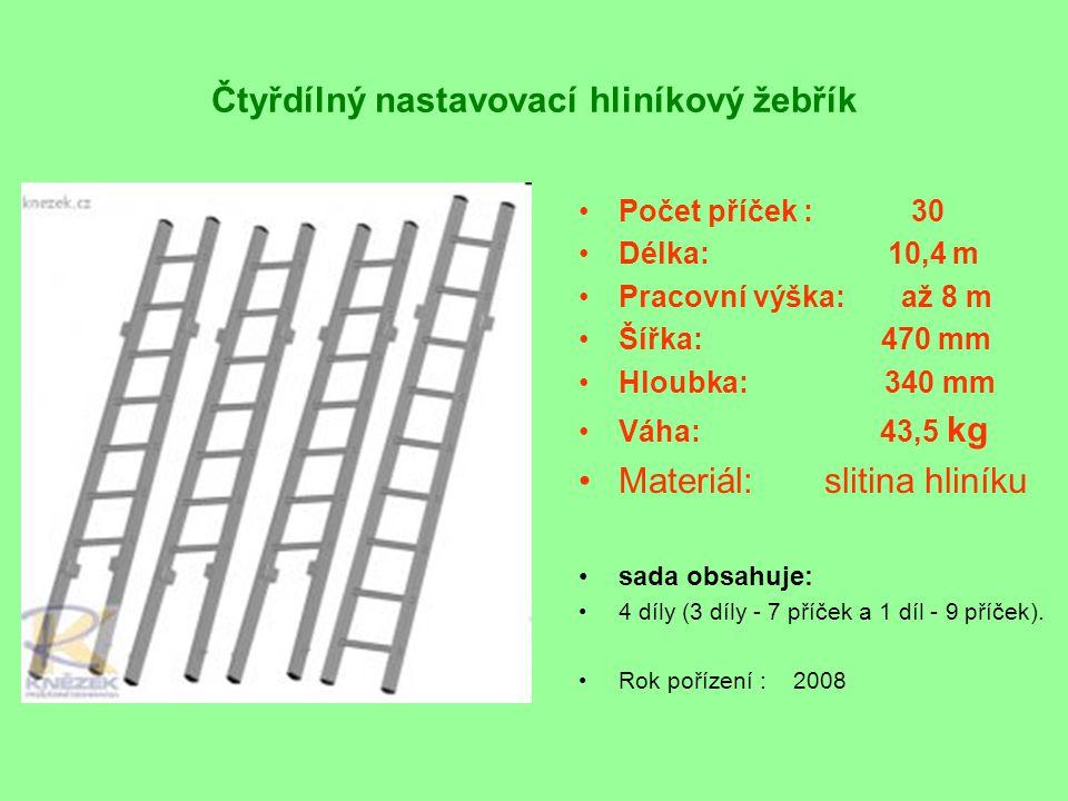 Čtyřdílný nastavovací hliníkový žebřík •Počet příček : 30 •Délka: 10,4 m •Pracovní výška: až 8 m •Šířka: 470 mm •Hloubka: 340 mm •Váha: 43,5 kg •Mater