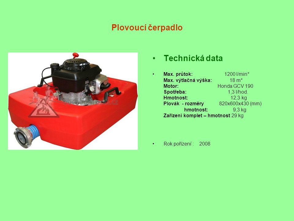 Plovoucí čerpadlo •Technická data •Max. průtok: 1200 l/min* Max. výtlačná výška: 18 m* Motor: Honda GCV 190 Spotřeba: 1,3 l/hod. Hmotnost: 12,3 kg Plo