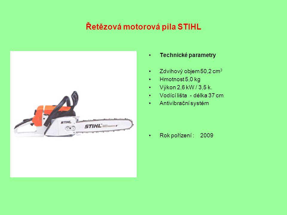Řetězová motorová pila STIHL •Technické parametry •Zdvihový objem 50,2 cm 3 •Hmotnost 5,0 kg •Výkon 2,6 kW / 3,5 k. •Vodící lišta - délka 37 cm •Antiv