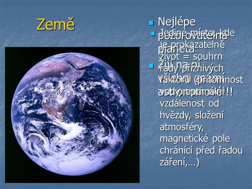 Země  Nejlépe pozorovatelná planeta  Žijí na ní všichni známí astronomové!!!  Jediné místo, kde je prokazatelně život = souhrn řady příznivých fakt
